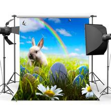 Photography Backdrops Easter Theme Eggs Rabbit Flowers Green Grass Field Rainbow Scene стоимость