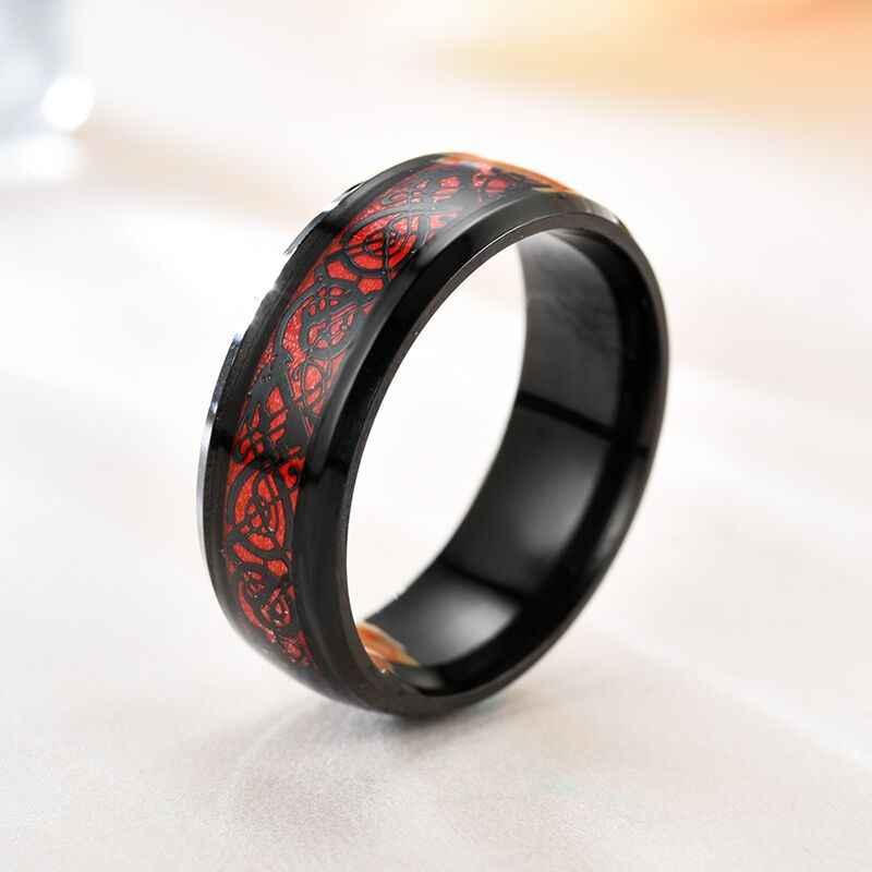 Man แหวนสีแดงคาร์บอนไฟเบอร์สีดำ Dragon แหวนสแตนเลสแหวน G-042