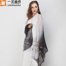 cb805f9b552f9 elegant embroidery silk chiffon scarves for women gradient color bandana  beach shawls female peach blossom embroider