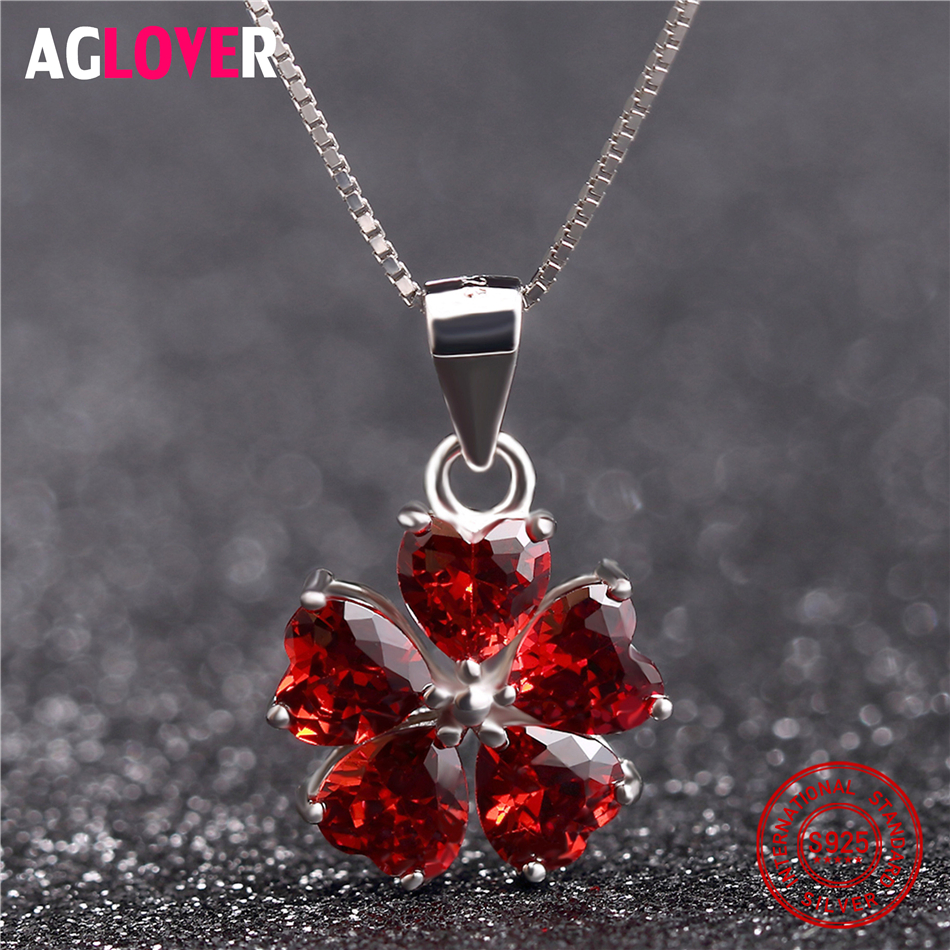 2018 New 925 Sterling Silver Woman Necklace AAA Red Crystal Heart Pendant Necklace Fashion Charm Female Jewelry in Necklaces from Jewelry Accessories