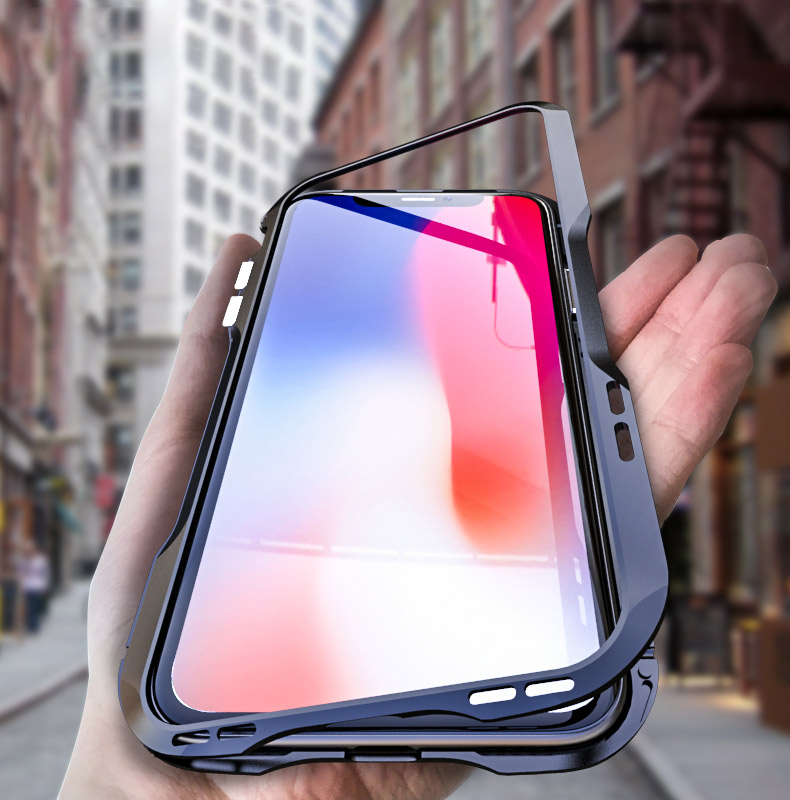 For iPhone X Magnetic Adsorption Cases Shockproof Metal Bumper (26)
