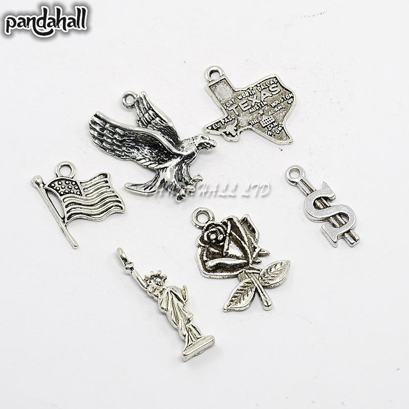6pcs/set Antique Silver Alloy Pendants,The Statue of Liberty,United States Flag,Eagle,Rose Flower,American Map with TEXAS