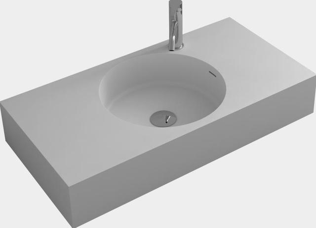 Attirant Bathroom Corain Rectangular Wall Hung Vessel Sink Matt Solid Surface Stone  Pre Drilled Hole Washbasin