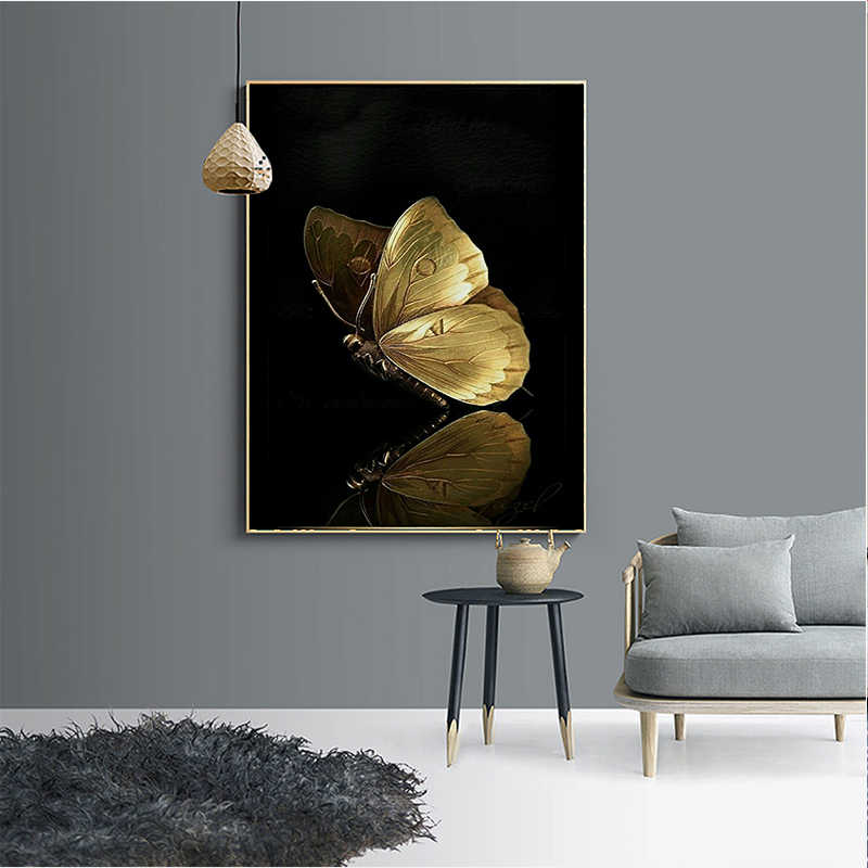 MUTU Golden Butterfly Wall Art Canvas Painting Abstract Posters and Prints Wall Pictures for Living Room Decoration Home Decor