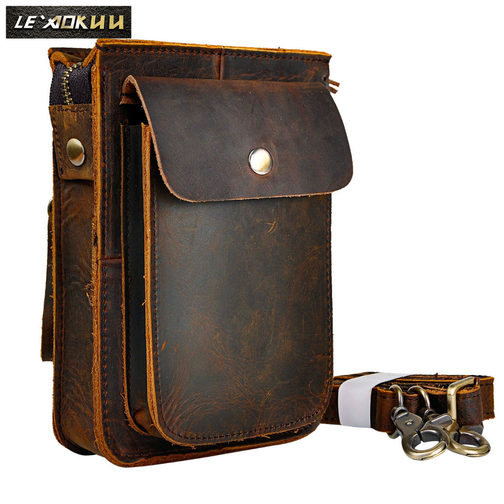 Fashion Crazy Horse Leather Multifunction Hook Crossbody Satchel Messenger Bag Cigarette Case 6