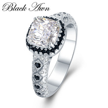 BLACK AWN 925 Sterling Silver Jewelry Wedding Rings for Women Black White Stone Engagement Ring