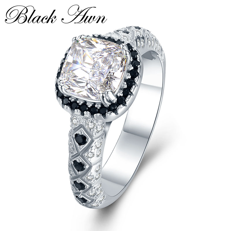font b BLACK b font AWN 925 Sterling Silver Jewelry Wedding font b Rings b