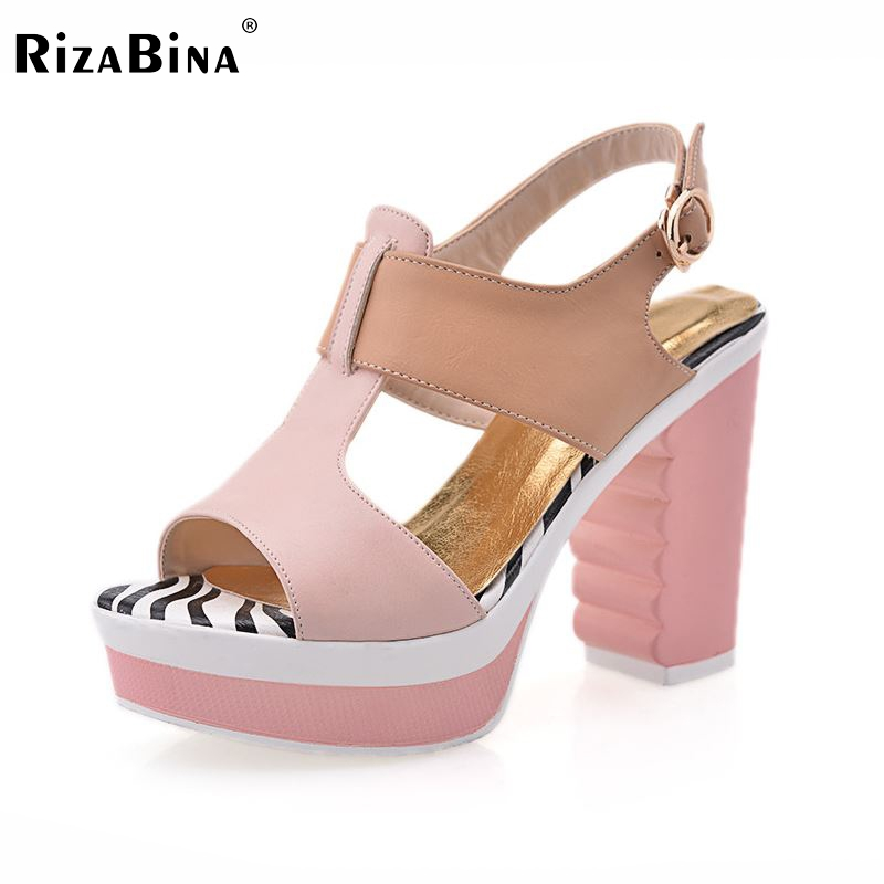 RizaBina women platform square high heel sandals ankle strap party summer  lady heeled escarpin heels shoes size 34-39 P17987 xiaying smile summer new woman sandals platform women pumps buckle strap high square heel fashion casual flock lady women shoes