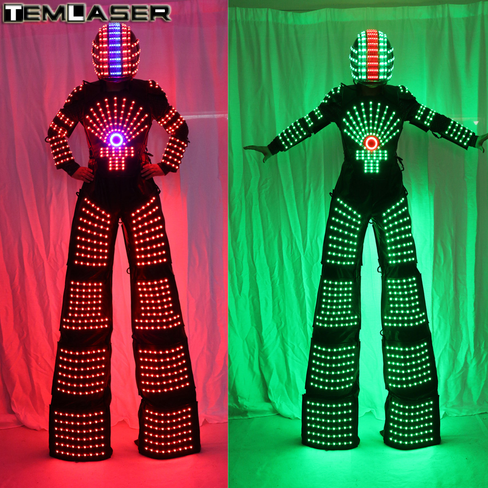 RGB Flashing LED Costume /LED Stilts Walker /Light suits/ LED Robot suits/ Kryoman robot/ david guetta robot with Helmet