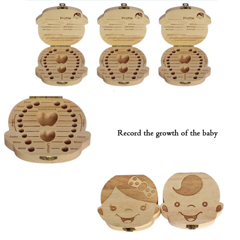 English/Spanish/French/Russian/Italian Creative Baby Tooth Box Baby Umbilical Cord And Baby Hair Storage Box Wooden Storage Box