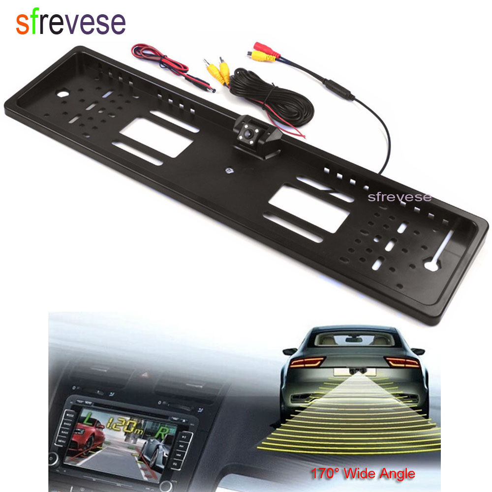 """Image 4 - 4.3"""" Car LCD Foldable Monitor Rear View Kit + Wireless EU Car License Plate Frame Reversing Backup Parking 4 LED Camera-in Vehicle Camera from Automobiles & Motorcycles"""