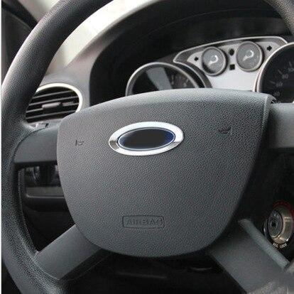 For Ford Escape Kuga 13-16 For Focus Mk3 12-14 Chrome Steering Wheel Cover Trim