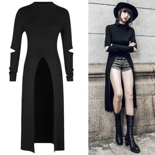 2018 Newest Retro Dress Women Fashion Autumn Punk Gothic Streetwear Long Sleeve Runway Bodycon Sexy Hole Pour V Dress Vestido