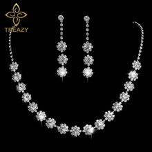 TREAZY Beautiful Flower Crystal Bridal Jewelry Sets Silver Color Rhinestone Necklace Earrings Wedding Jewelry Set for Women
