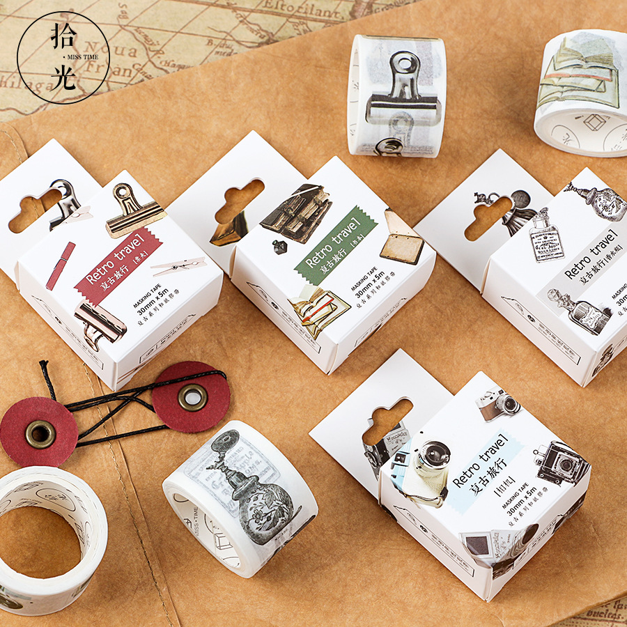 1PCS High Quality Washi Tape Vintage Cool Fashion Retro Travel Masking Tape Gift DIY Stationery Supplies
