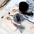 Lujo caso caliente para iphone 7 plus borlas de piel de pelo de conejo bola anillo de metal cubierta para iphone 7 plus 5.5 ''winter femenino regalo Coque