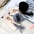 Luxury Warm Case For iPhone 7 Plus Rabbit Hair Fur Tassels Ball Metal Ring Girly Cover For iPhone 7Plus 5.5'' Winter Gift Coque