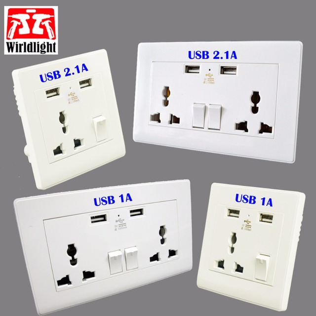 Wall Power Socket Universal Standard Outlet With 2.1A Dual USB Port ...