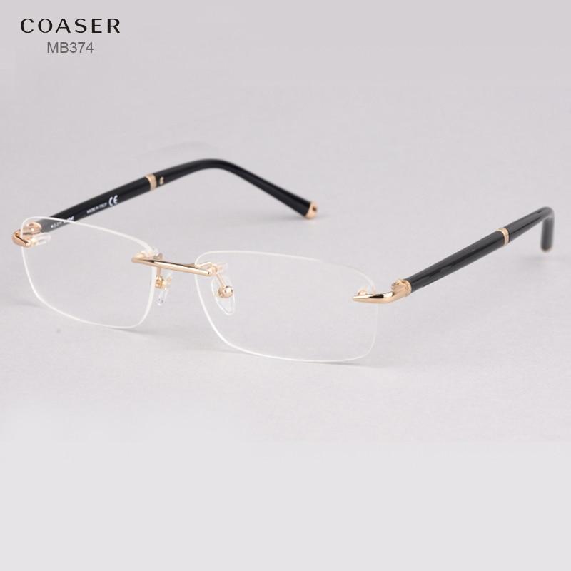Gafas sin montura ancho espectáculo hombres Square gafas marcos ...