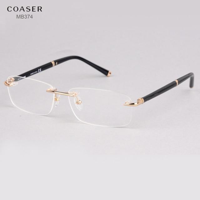 e8069ad83f62 Rimless Glasses Wide Spectacle Men Square eyeglasses frames reading glasses  prescription lens optical frame gold rimmed glasses