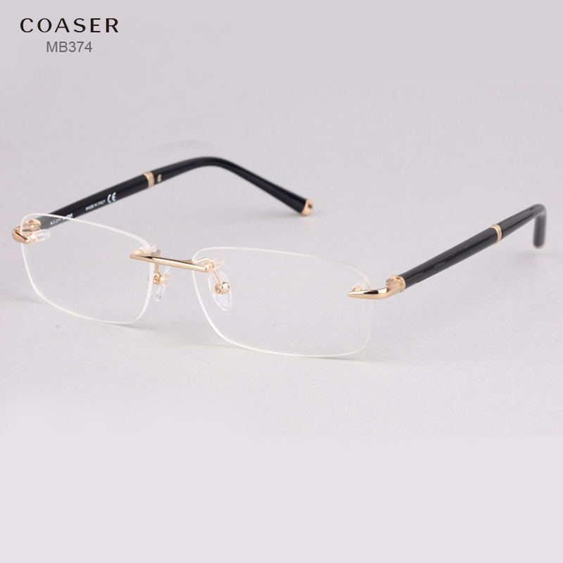Sans monture Lunettes Large Spectacle Hommes Carré lunettes cadres lunettes de lecture prescription lentille optique cadre or bordé lunettes