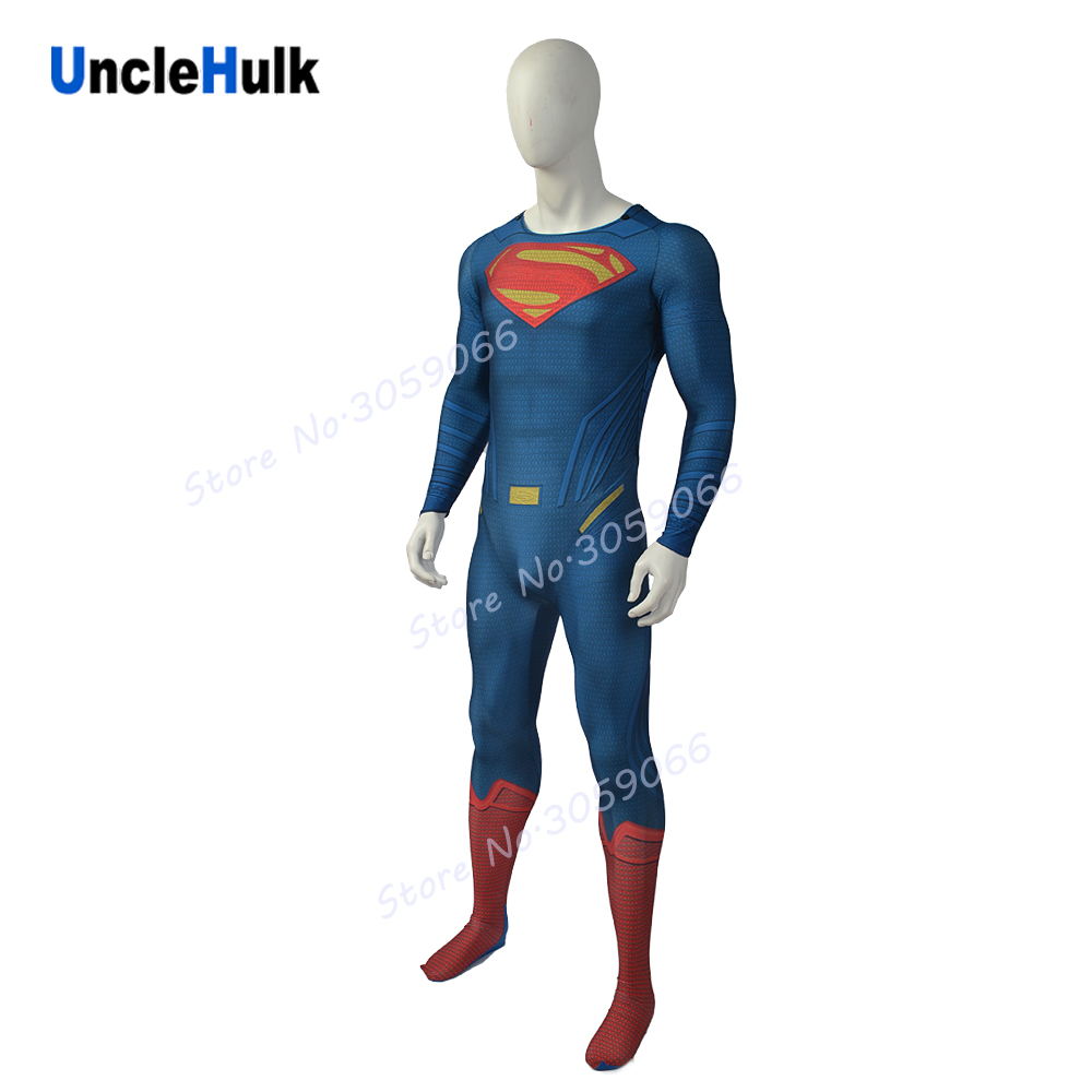 High Quality Superman Costume Printed Spandex Lycra Cosplay Costume - No.13 | UncleHulk