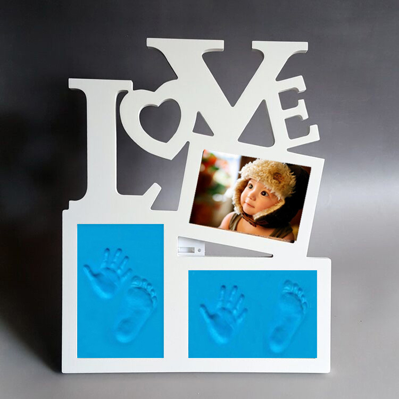 Cadre photo en bois mignon avec empreinte d'argile douce, bricolage bébé main et pied imprime moule empreinte de main ornement de souvenir de bébé créatif