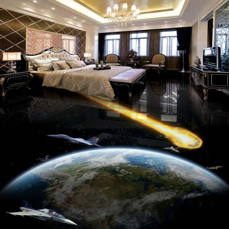 Free shipping custom Meteorite Earth 3D living room floor anti-skidding thickened bathroom balcony mural wallpaper flooring цена 2017