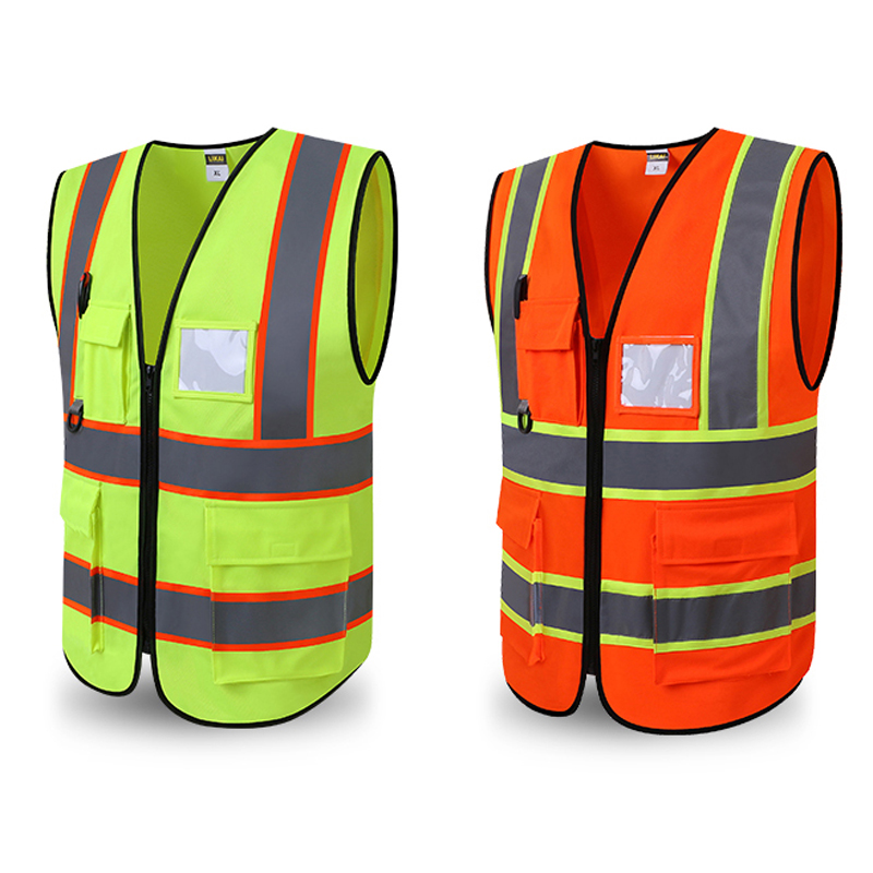 High Visibility Safety Vest Reflective Running Gear Vest Construction Worker Waistcoat with Reflective Strips Yellow and Orange construction worker reflective safety vest with pockets with reflective tape