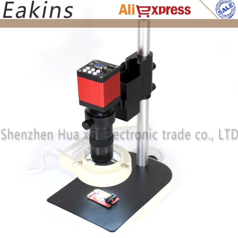 HD 13MP HDMI VGA Digitale Elektronische Video Mikroskop Kamera set + 100X C mount objektiv + 56 LED Ring Licht + ständer Halter Für PCB