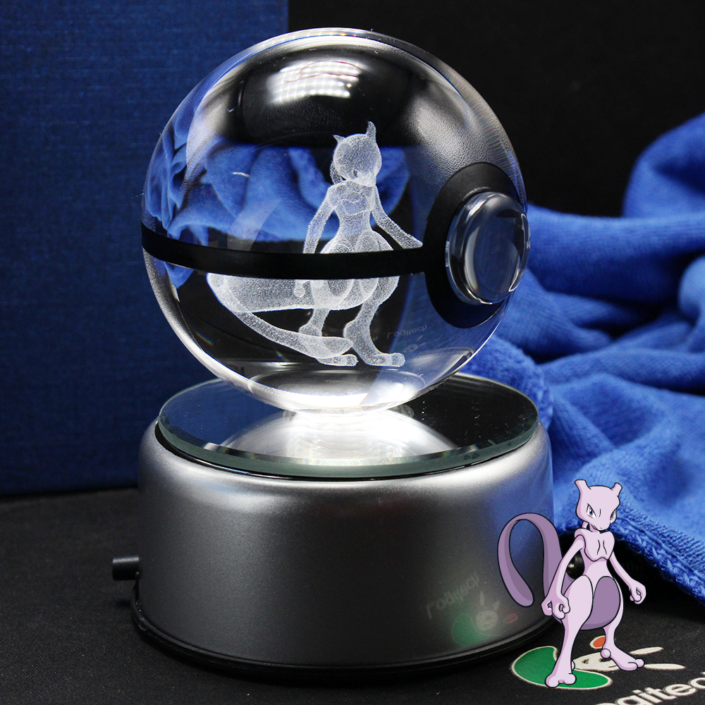 Nice Fashion Mewtwo Pokemon 3D Gravering Krystall Ball Med LED Base Christmas Gifts