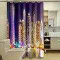 Anpassen 3D Dusche Vorhänge City Night View Pattern Wasserdicht Stoff Bad Vorhänge Waschbar Bad Produkte 180*180cm-in Duschvorhänge aus Heim und Garten bei