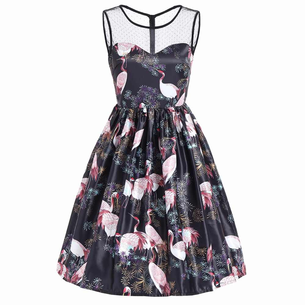 882450454162a Himanjie Tunic Vestidos Women Mesh Patchwork Flamingo Floral Print Dress  spring Retro Casual Party Robe Pinup Rockabilly Vintage