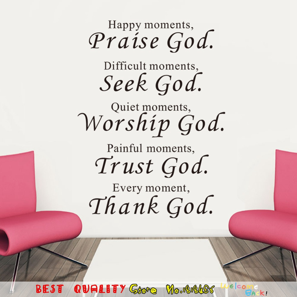 Worship Quotes Bible Wall Stickers Home Decor Praise Seek Worship Trust Thank God
