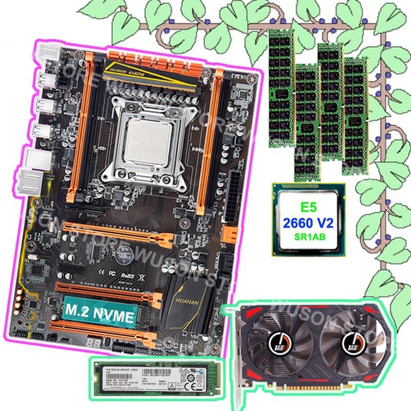 À vendre HUANAN ZHI X79 bundle carte mère carte vidéo GTX750TI 2G 128G NVME SSD 2280 CPU Intel Xeon E5 2660 V2 RAM 4*8G 1600 RECC