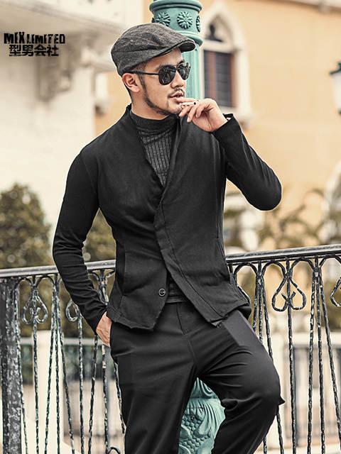c8a58eb2f6c55 Online Shop Men washed slim burr short black suit jacket fashion new design  metrosexual man suit blazer European style winter outwear F111   Aliexpress  ...