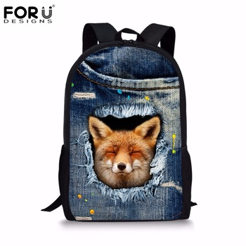 FORUDESIGNS Jeans Style Women Backpack School Backpacks for Teen Girls Canvas Cute Denim Animal Fox Print Children Bags