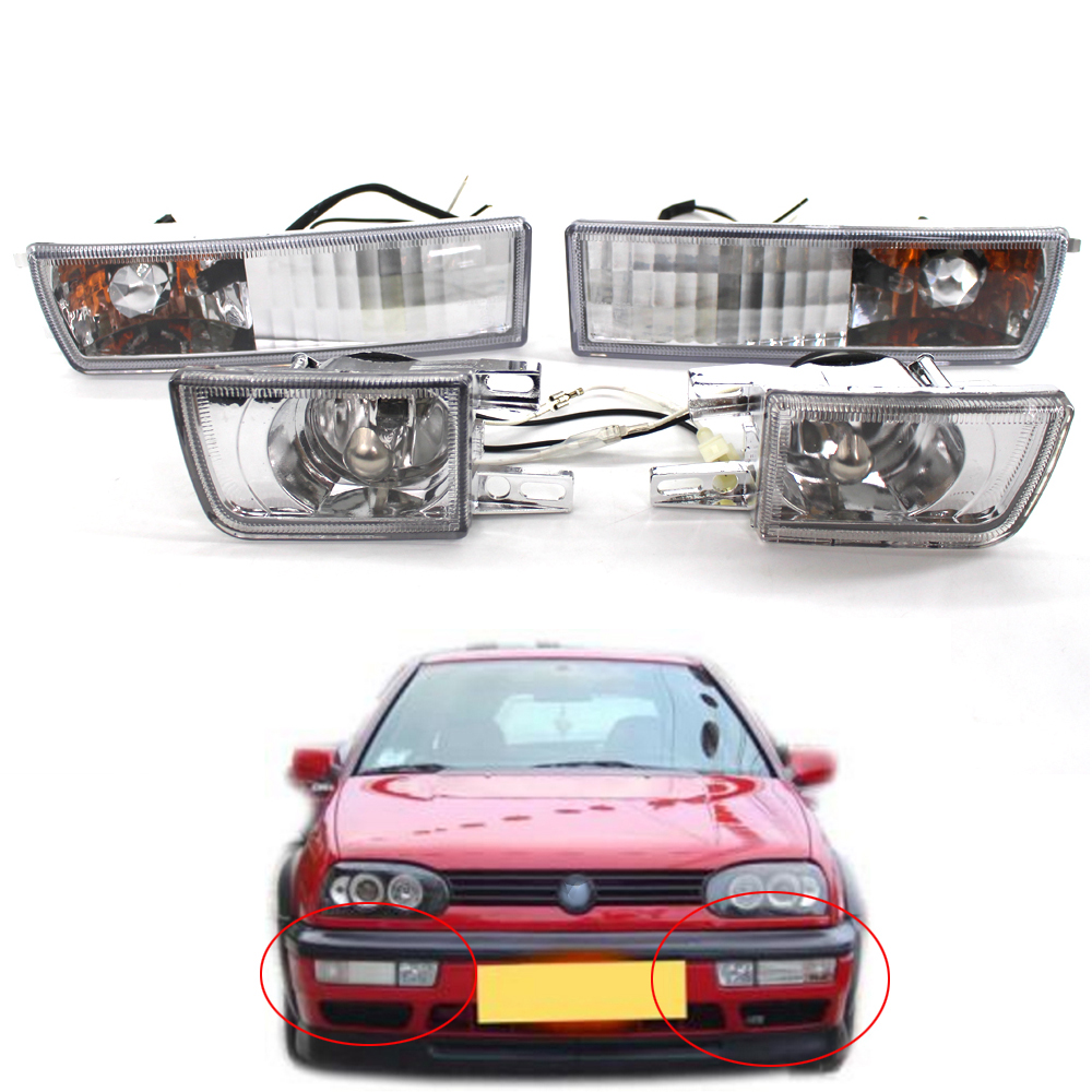 Front Bumper <font><b>VR6</b></font> Fog Lamp Corner Turn Signal Lights for <font><b>VW</b></font> Jetta <font><b>Golf</b></font> <font><b>MK3</b></font> Vento 93-98 image