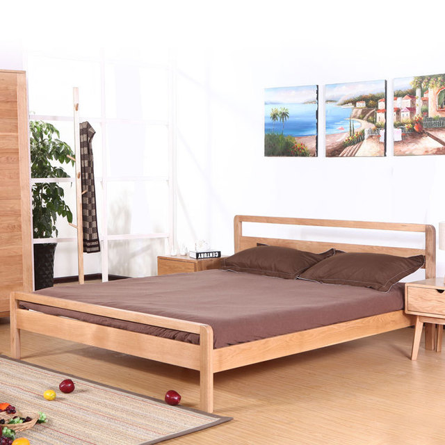 Muji minimalist modern Japanese style wood solid wood bed 1.8 m bed ...