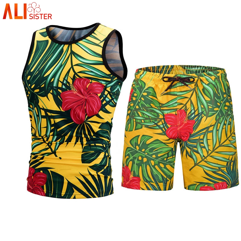 Alisister Two Piece Set Men Sleeveless Tank Top + Shorts Men's Tracksuits Causal Sportswear Tops Short Trousers Fitness Shirts