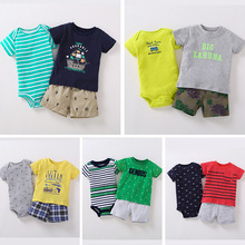 2018 infant baby summer outfits set / 3 pcs T-shirt + romper +shorts Genius /Handsome /Mommys rescue hero Mr cool