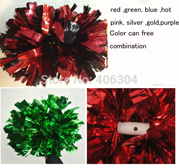 80g 38cm fadeless Cheering pompom with baton handle Metallic cheerleading pom pom red pink green blue.gold  silver ballroom