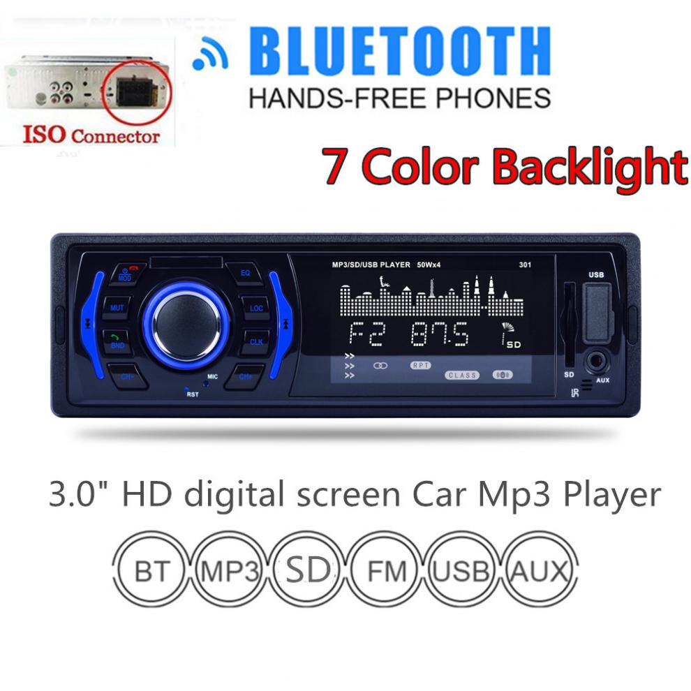 3 Inch 1 DIN In Dash Bluetooth 7 Color Light Car Stereo FM Radio MP3 Audio Player Aux Input / SD / USB / MP3