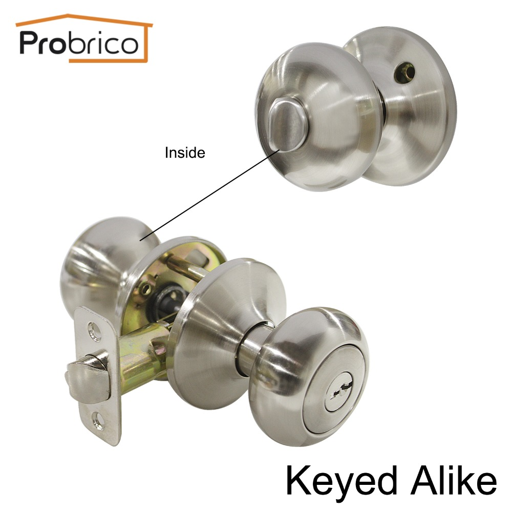 Probrico 10 PCS Keyed Alike Entrance Lock Stainless Steel Safe Locker Security Door Lock Satin Nickel Door Knob DL5766SNET-Combo