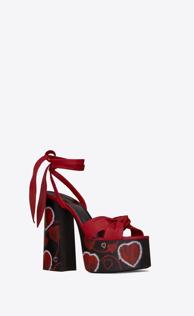 Sandales Noir À Femmes Hauts Talons Dames Épais Bride Carré Coeur De D'été Plate marron La forme Lacets Imprimer rouge Cheville Nouveautés Sexy Chaussures Sestito f1wnx7qC