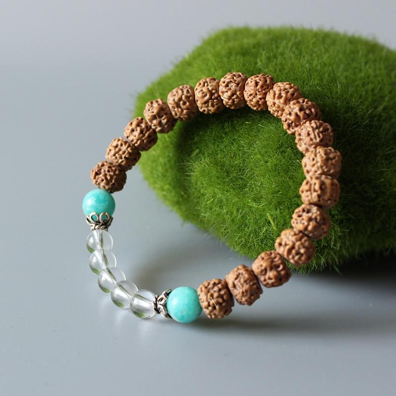 Wholesale Tibetan Zen Buddhism Rudraksha Mala Beads Stretch Bracelet For Women Unique Yoga Meditation Wood Beaded Chakra Jewelry