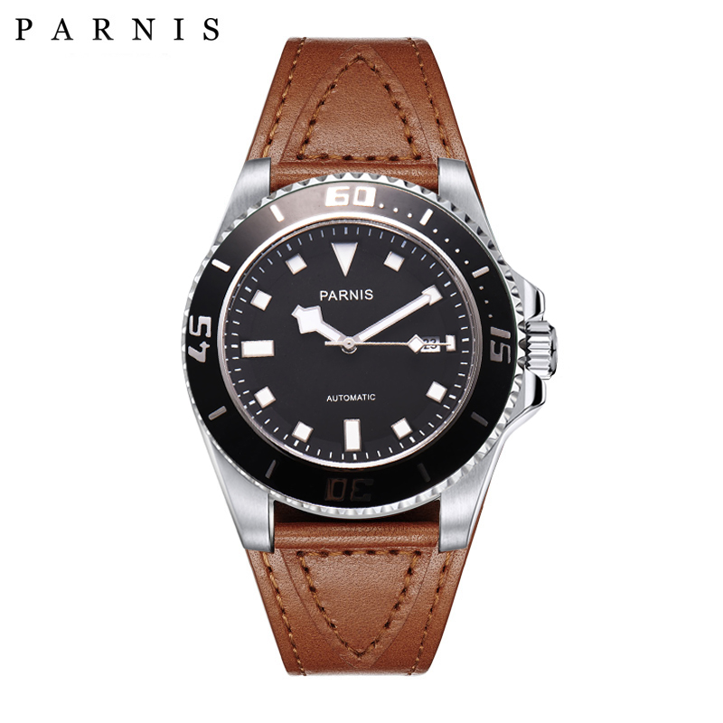 45mm Parnis Automatic Watch Ceramic Mechanical Watches Bracelt Clasp Luminous 100m Diver Waterproof Sea Master Style Watch45mm Parnis Automatic Watch Ceramic Mechanical Watches Bracelt Clasp Luminous 100m Diver Waterproof Sea Master Style Watch