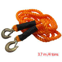Tow Rope 4 Tonnes 3.7M Car Towed Band Truck Pulling Rope Tow Towing Pull Rope with Wrought Iron Hooks Twist trailer rope