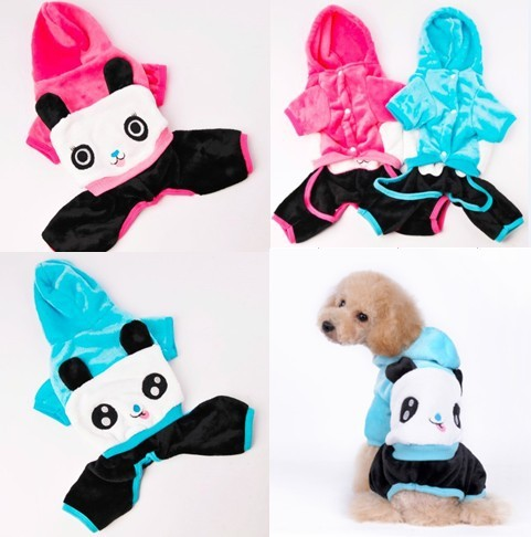 Free shipping !! Lovely Panda Dog Clothes Fleece Material Hooded Pet Coat Stand-up Ears Puppy Clothes in Blue + Rose Colors