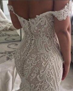 Image 2 - 2019 Sang Trọng Sexy Mermaid Wedding Dresses Tắt Shoulder Pearls Crystals Tòa Train Dubai Ả Rập Wedding Dress Bridal Gowns